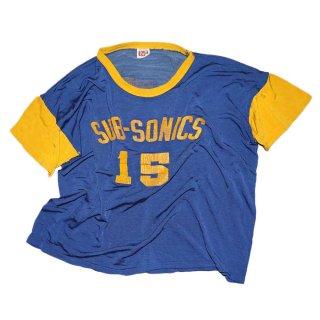 MASON ナイロン半袖Tシャツ 表記46-48 青×黄色