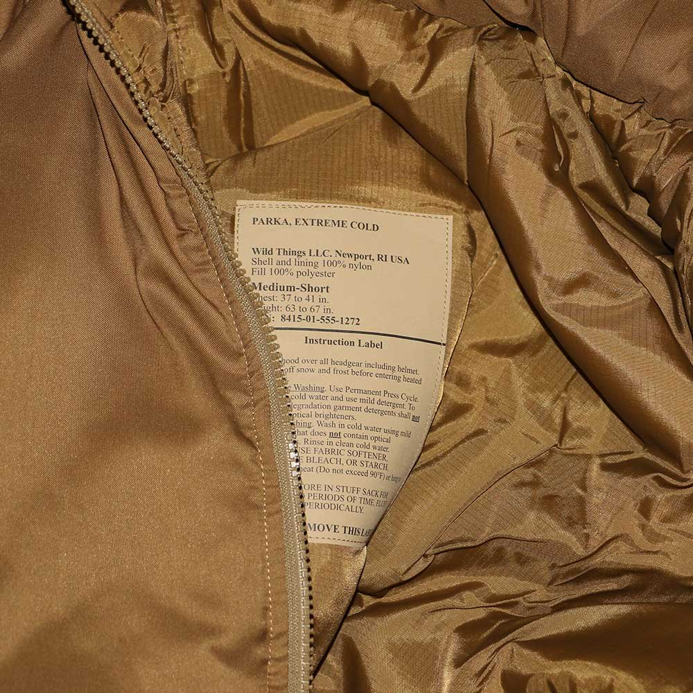 w-means(ダブルミーンズ) U.S.ARMY EXTREME COLD WEATHER GEN3 「APCU PARKA」Level 7 表記M-S コヨーテイエロー 詳細画像5