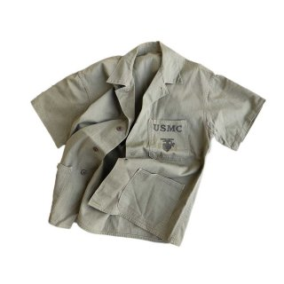 U.S.M.C. コットン半袖シャツ 表記なし アーミーグリーン