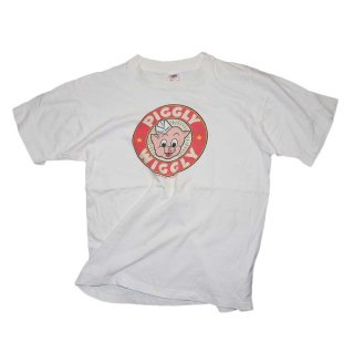 PIGGLY WIGGLY コットンTシャツ(made in U.S.A.)表記L  white
