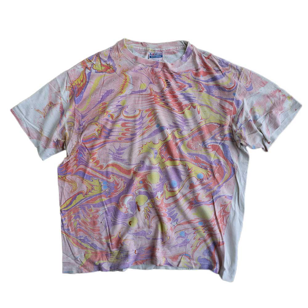 w-means(ダブルミーンズ) Hanes 100% cotton 半袖Tシャツ(Made in U.S.A.)表記xL 総柄 詳細画像