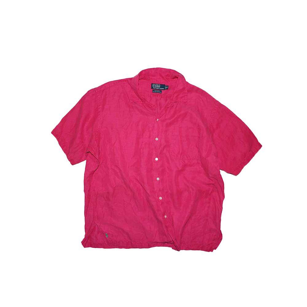 w-means(ダブルミーンズ) Polo Ralph Lauren Silk × Linen 半袖シャツ  表記xL  shocking pink 詳細画像