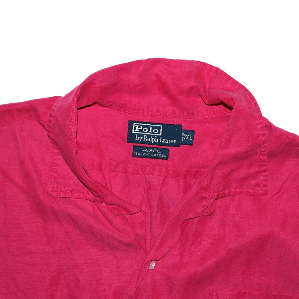 w-means(ダブルミーンズ) Polo Ralph Lauren Silk × Linen 半袖シャツ  表記xL  shocking pink 詳細画像2