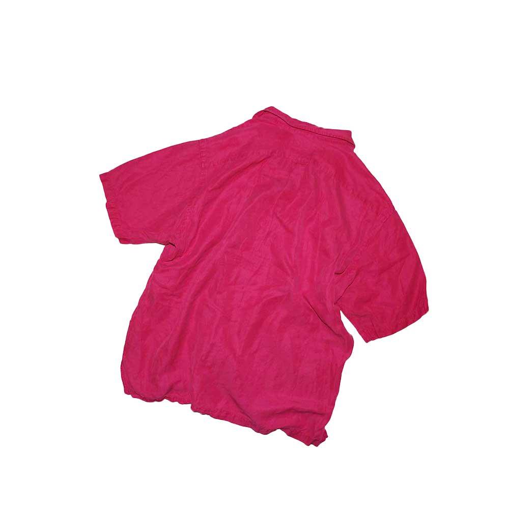 w-means(ダブルミーンズ) Polo Ralph Lauren Silk × Linen 半袖シャツ  表記xL  shocking pink 詳細画像3