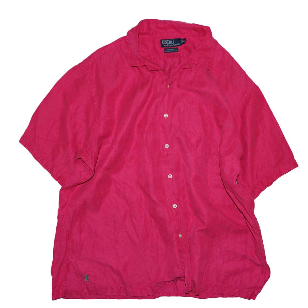 w-means(ダブルミーンズ) Polo Ralph Lauren Silk × Linen 半袖シャツ  表記xL  shocking pink 詳細画像4