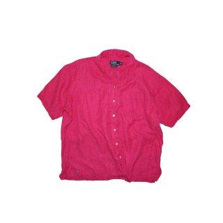 Polo Ralph Lauren Silk × Linen 半袖シャツ  表記xL  shocking pink