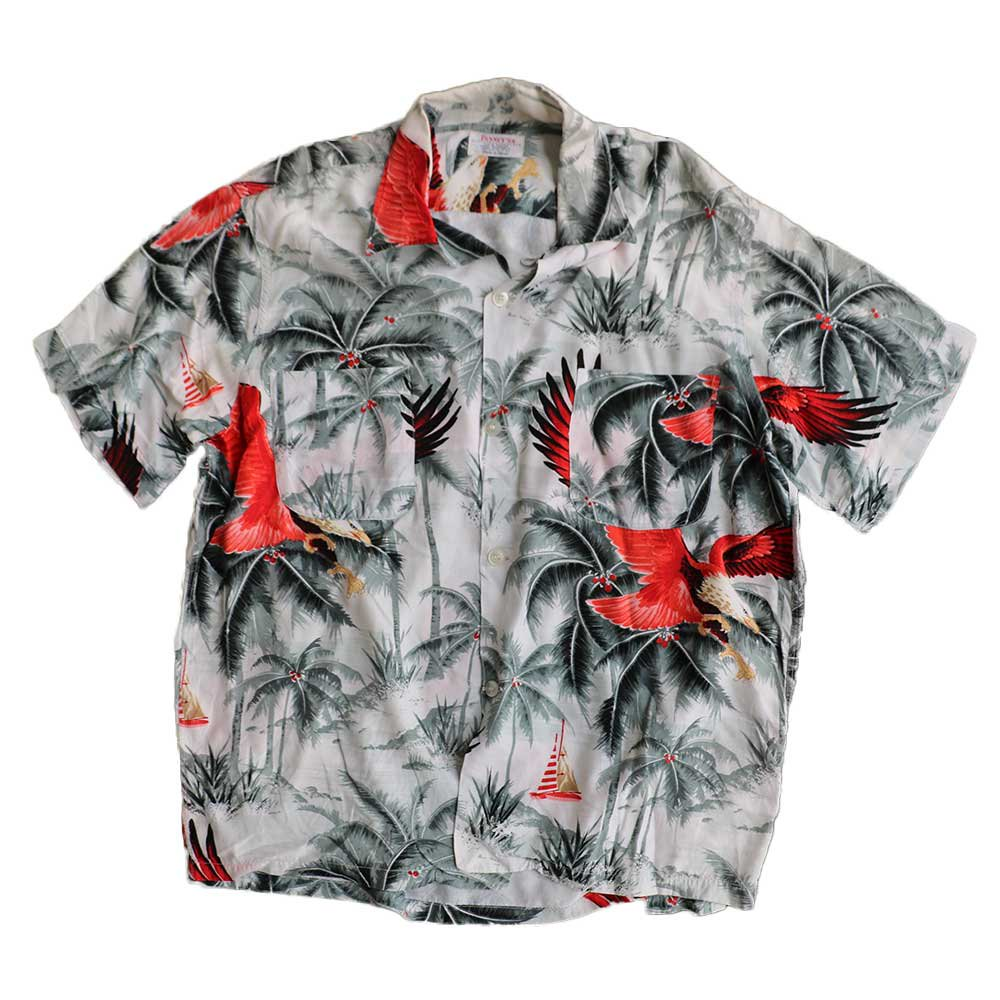 w-means(ダブルミーンズ) PENNEY'S  100% RAYON 半袖アロハシャツ(Made in JAPAN)表記M  総柄 詳細画像
