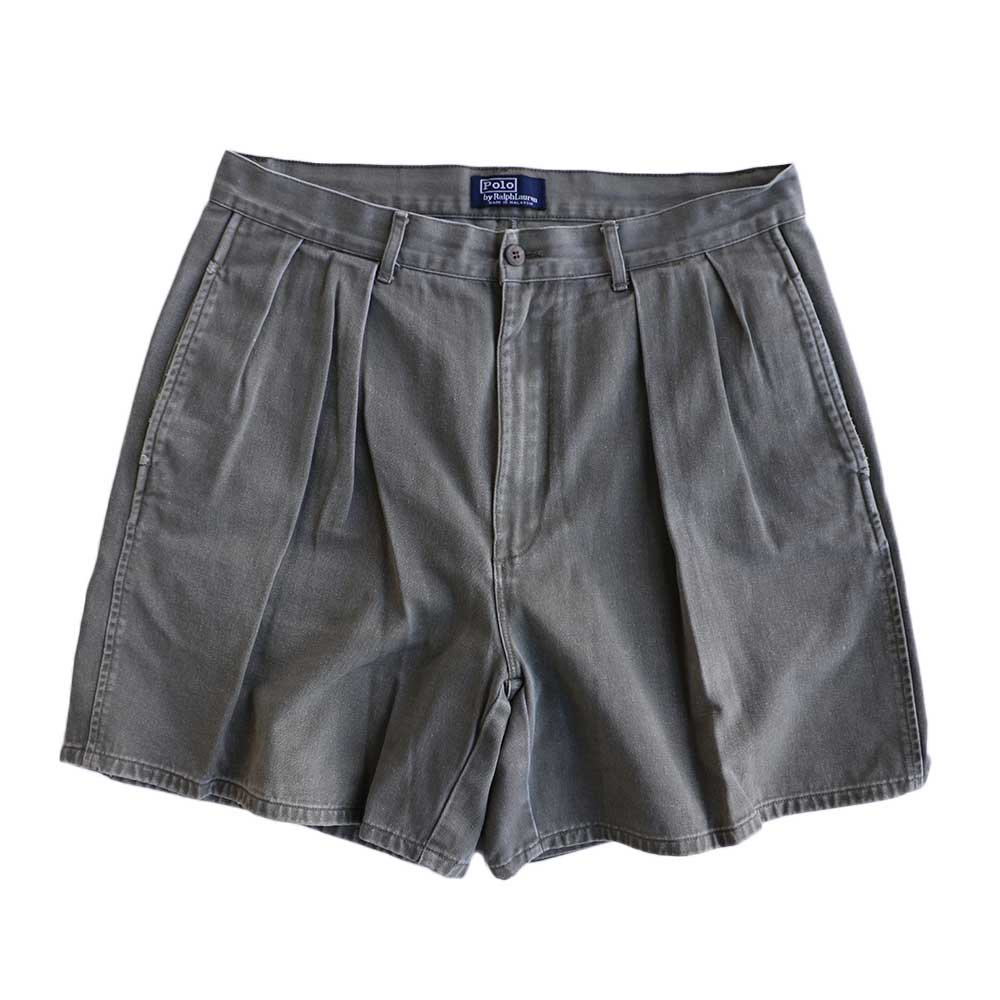 w-means(ダブルミーンズ) Ralph Lauren 100% コットンショーツ(Made in MALAYSIA)表記w33  鶯色 詳細画像