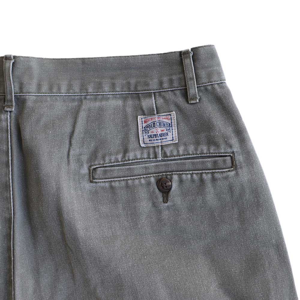 w-means(ダブルミーンズ) Ralph Lauren 100% コットンショーツ(Made in MALAYSIA)表記w33  鶯色 詳細画像3