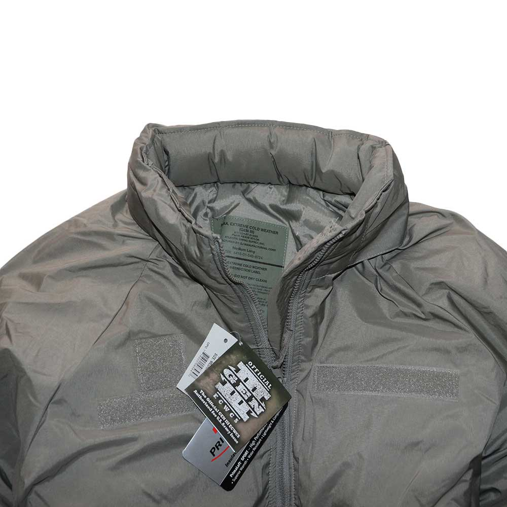 w-means(ダブルミーンズ) アメリカ軍 米軍 EXTREME COLD WEATHER GEN3 「APCU PARKA」Level7 表記M-L ストーングレー 詳細画像2