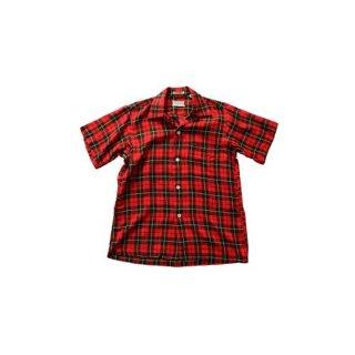 60's SKIPPER WILSON BROTHERS オープンカラーシャツ(Made in U.S.A.)表記S  赤チェック柄
