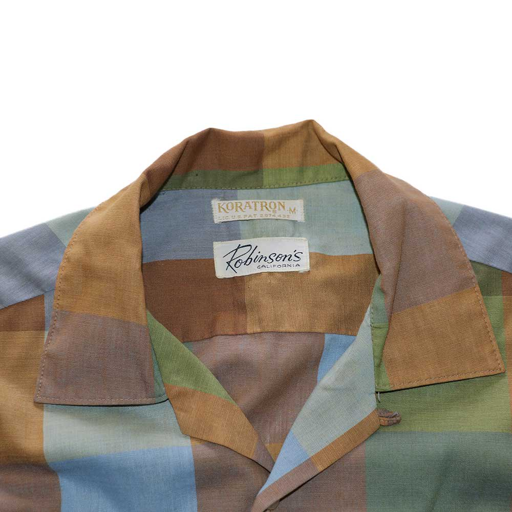w-means(ダブルミーンズ) Robinsons vintage opencolor shirt  表記M  マドラスチェック 詳細画像1