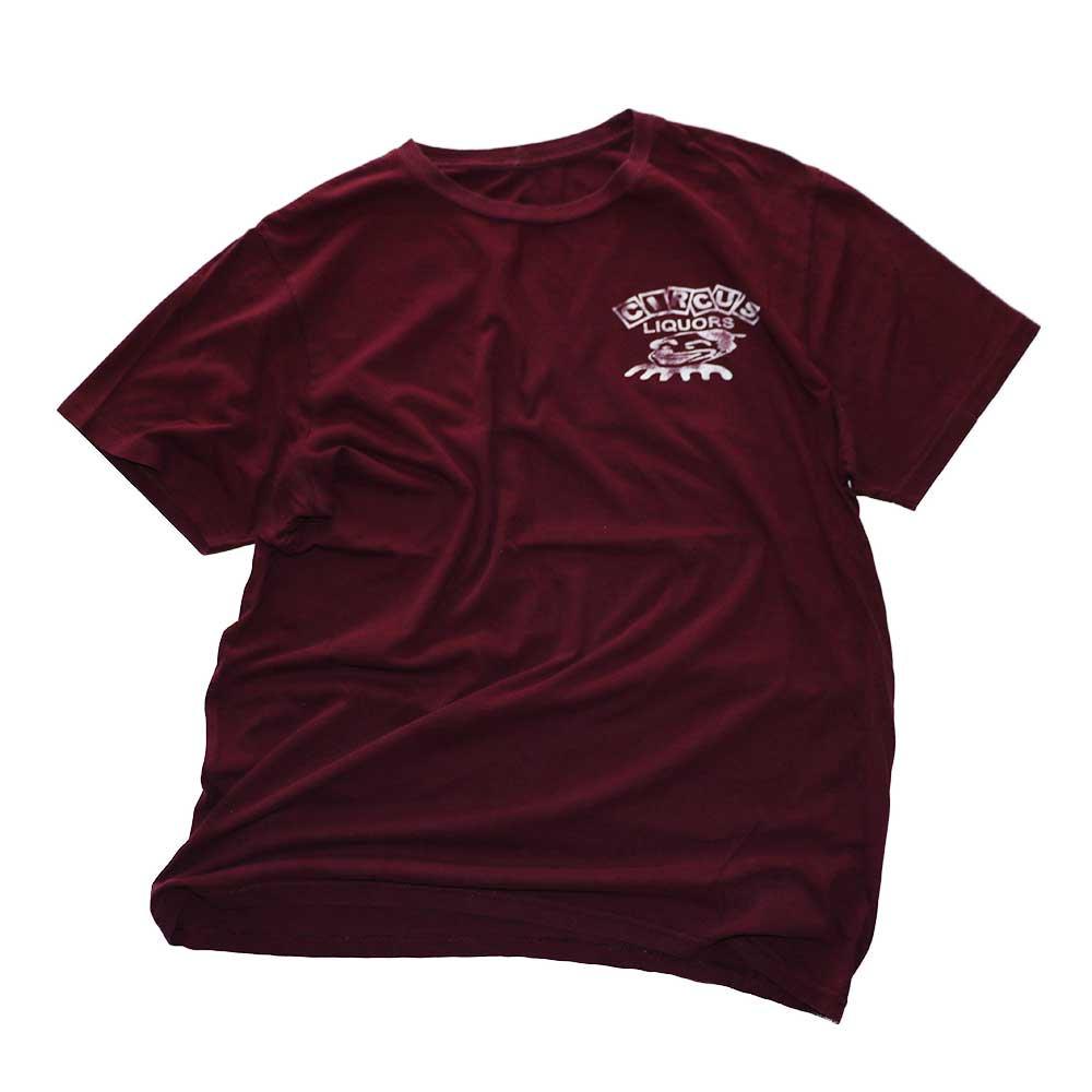 w-means(ダブルミーンズ) CIRCUS LIQUORS  コットン半袖Tシャツ  表記なし   臙脂色 詳細画像