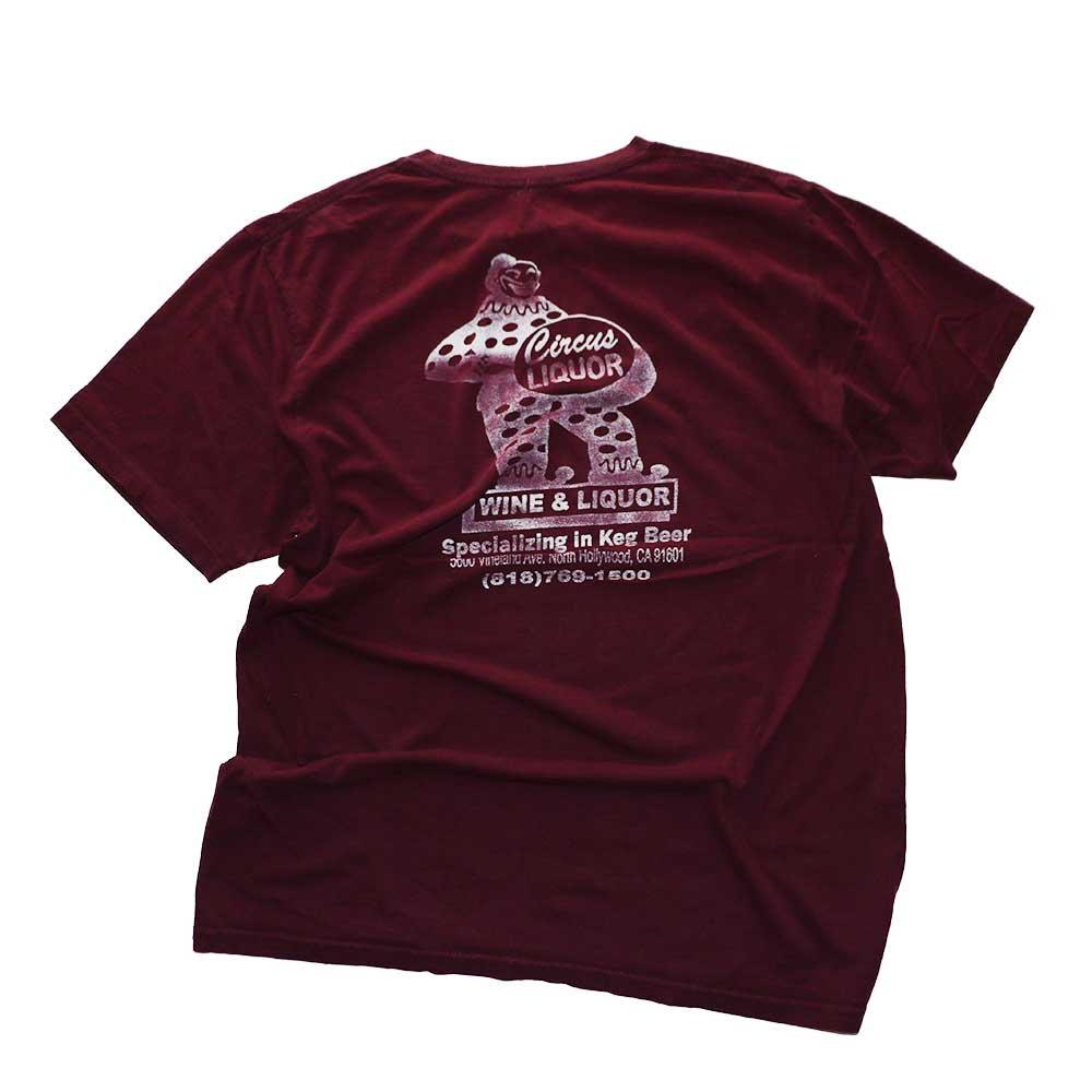 w-means(ダブルミーンズ) CIRCUS LIQUORS  コットン半袖Tシャツ  表記なし   臙脂色 詳細画像1