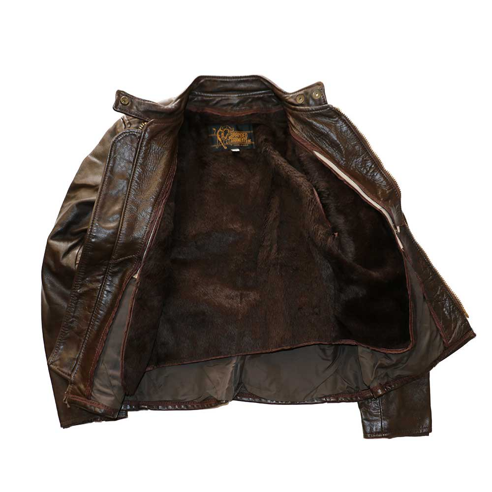 w-means(ダブルミーンズ) BRANDED GARMENTS INC.  シングルレザージャケット(MADE IN U.S.A.)表記10   BROWN 詳細画像2