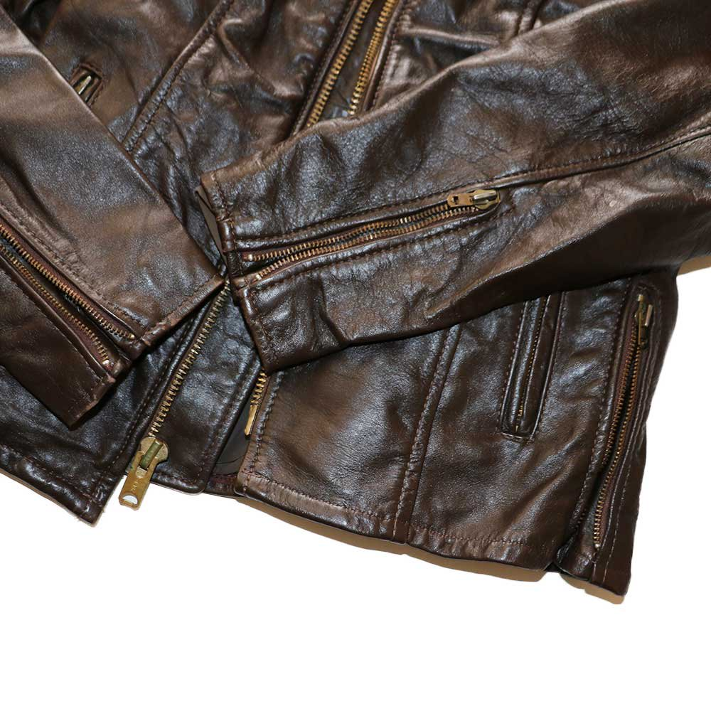 w-means(ダブルミーンズ) BRANDED GARMENTS INC.  シングルレザージャケット(MADE IN U.S.A.)表記10   BROWN 詳細画像6