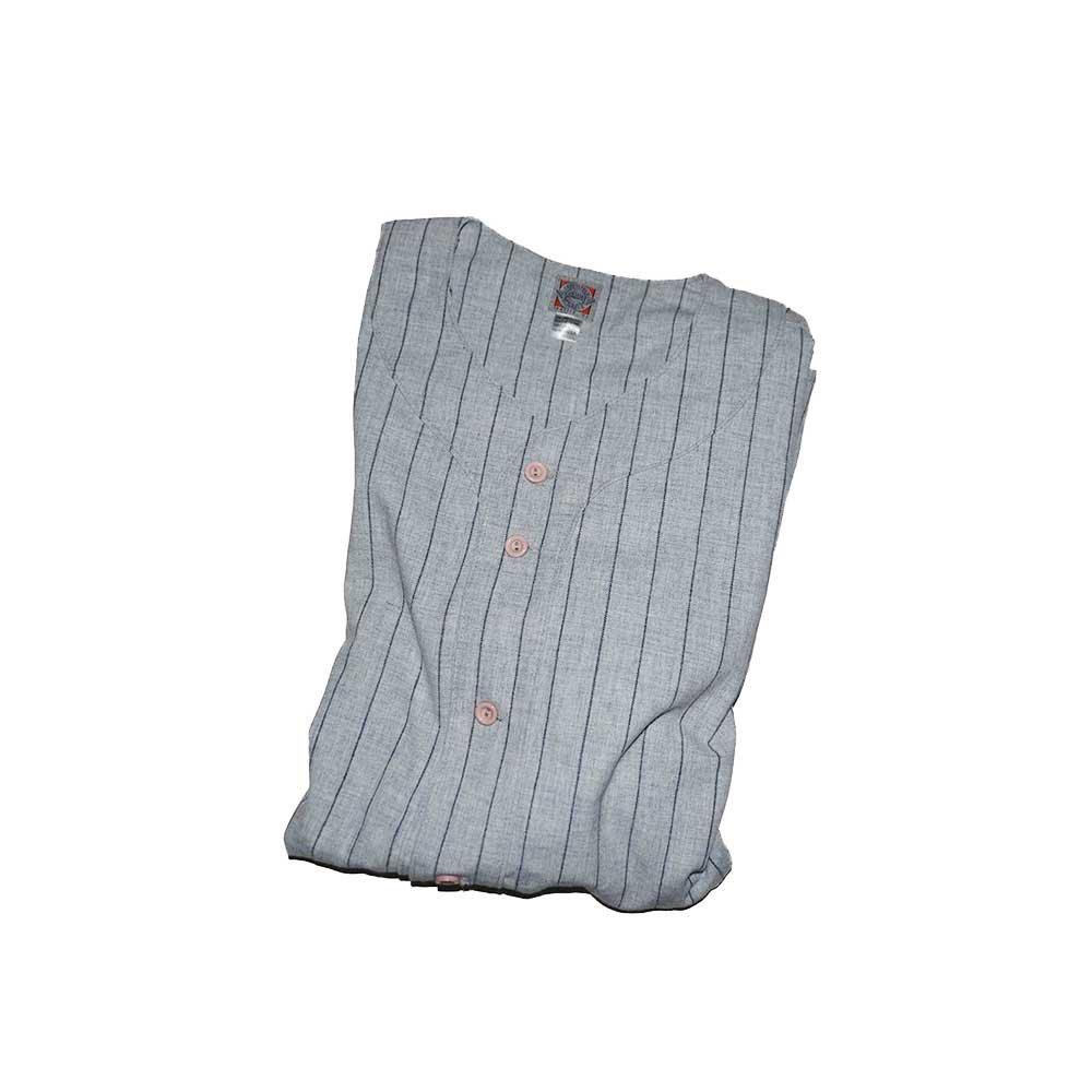 w-means(ダブルミーンズ) EBBETS FIELD ウールベースボールシャツ(Made in U.S.A.)表記xL  ストライプス柄 詳細画像