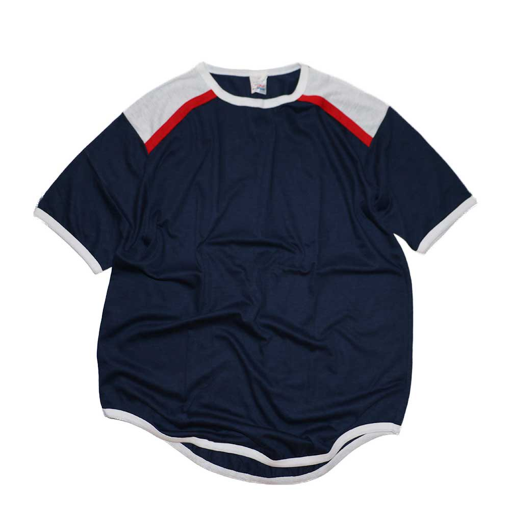 w-means(ダブルミーンズ) Campus 50-50 Pro adion 半袖Tシャツ(Made in U.S.A.)表記xL Navy×White×Red 詳細画像