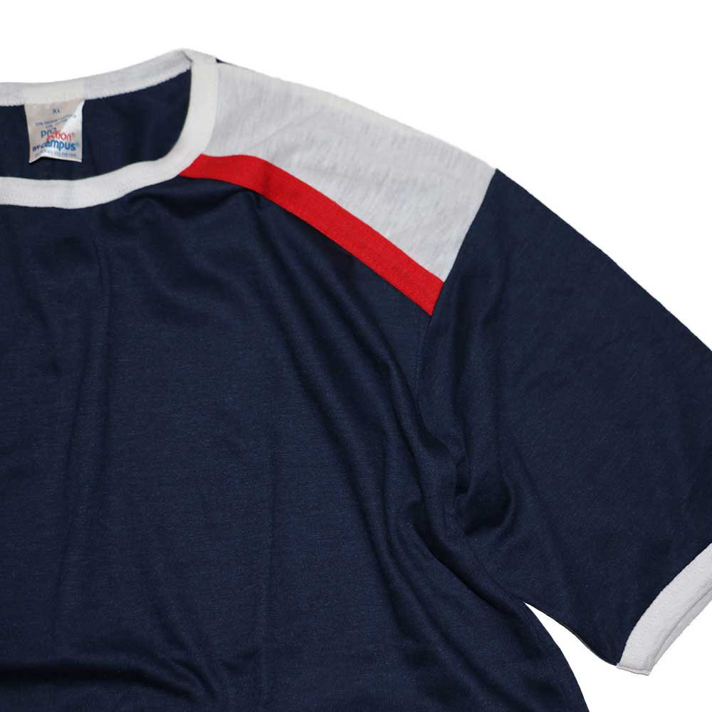 w-means(ダブルミーンズ) Campus 50-50 Pro adion 半袖Tシャツ(Made in U.S.A.)表記xL Navy×White×Red 詳細画像1