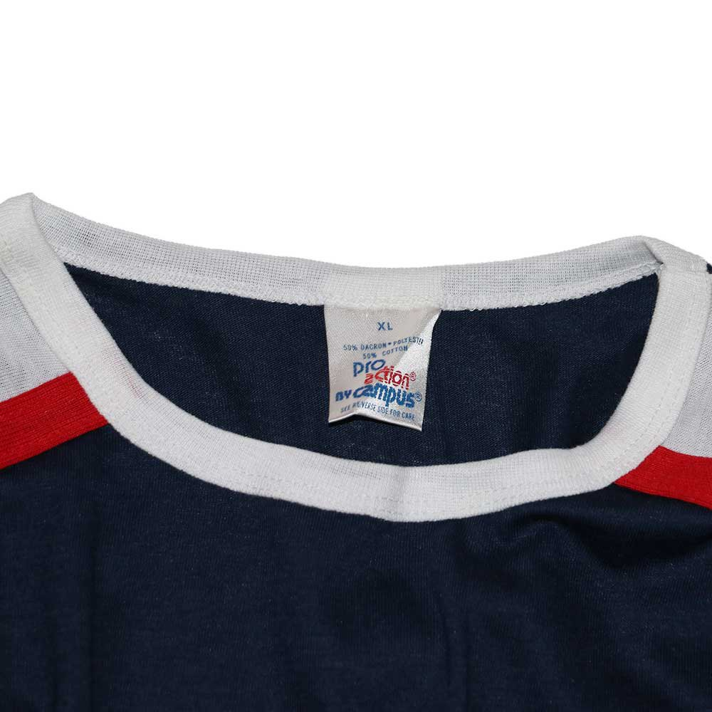 w-means(ダブルミーンズ) Campus 50-50 Pro adion 半袖Tシャツ(Made in U.S.A.)表記xL Navy×White×Red 詳細画像2