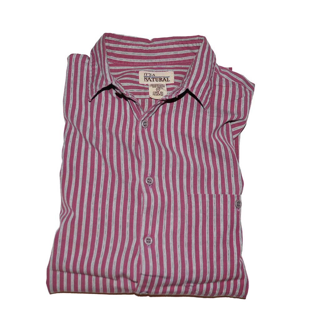 w-means(ダブルミーンズ) IT'S A NATURAL  100%コットン長袖シャツ(MADE IN INDIA)表記M  PINK×GRAY 詳細画像1
