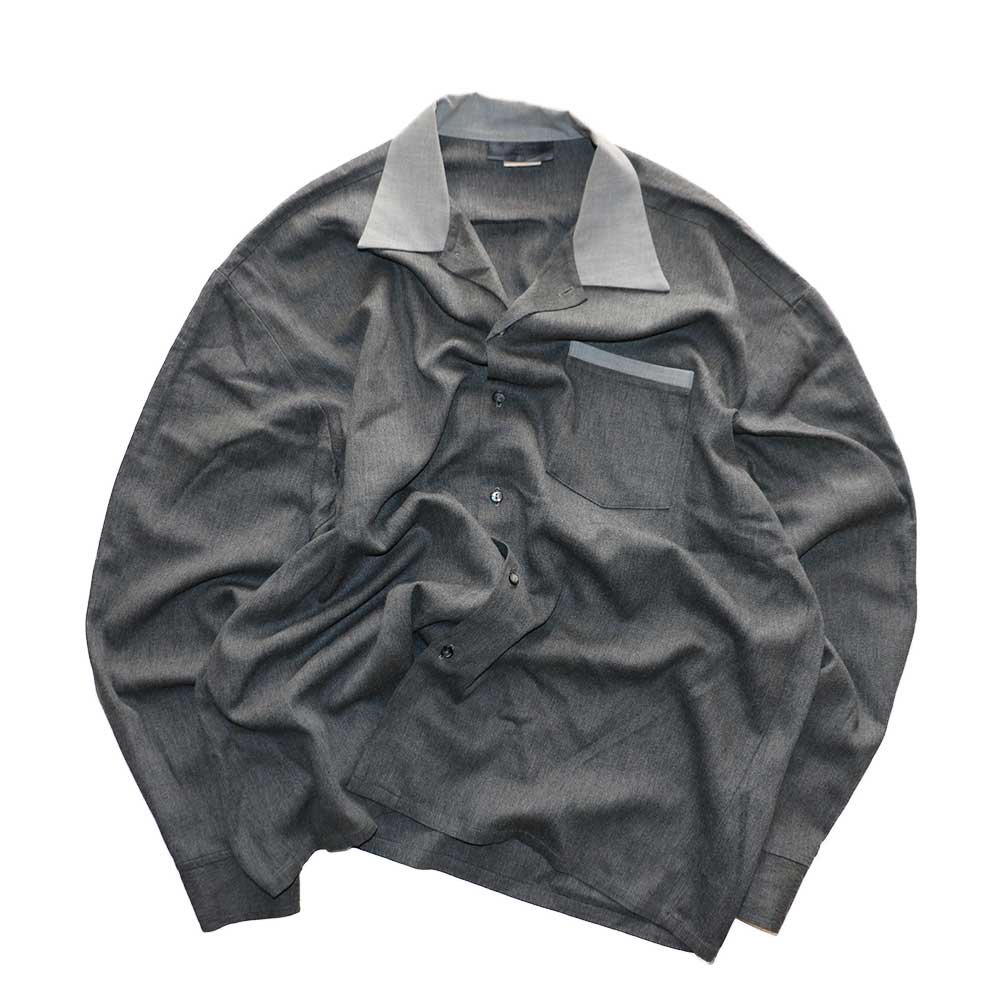 w-means(ダブルミーンズ) KWEEHBO CLOTHING CO. レーヨンオープンカラーシャツ( Made in U.S.A.)表記L  Charcoal-gray 詳細画像