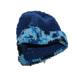unknown ハンドメイドニットキャップ  one size fits all  Blue