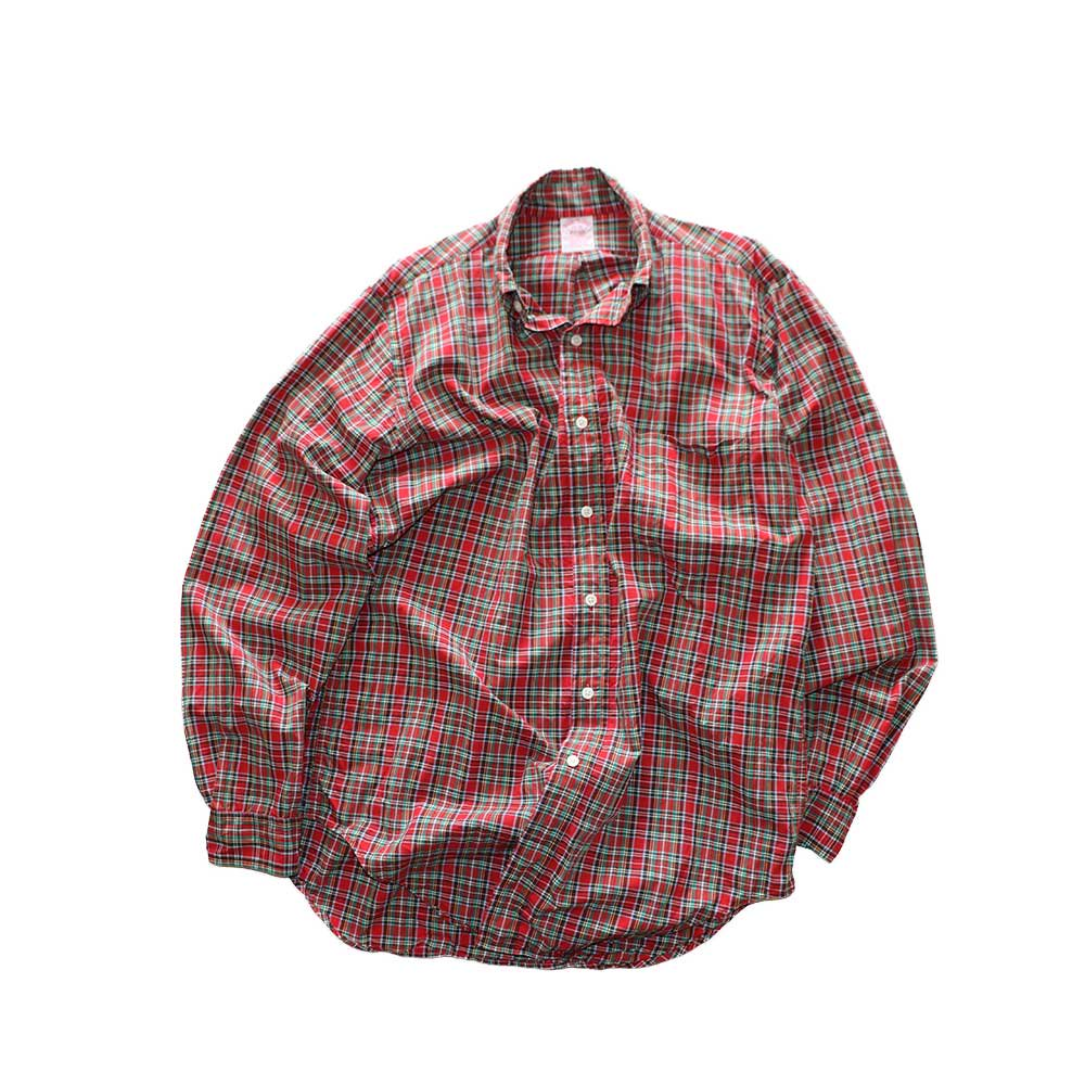 w-means(ダブルミーンズ) BrooksBrothers コットン長袖シャツ(Made in U.S.A.)表記15R  赤チェック柄 詳細画像