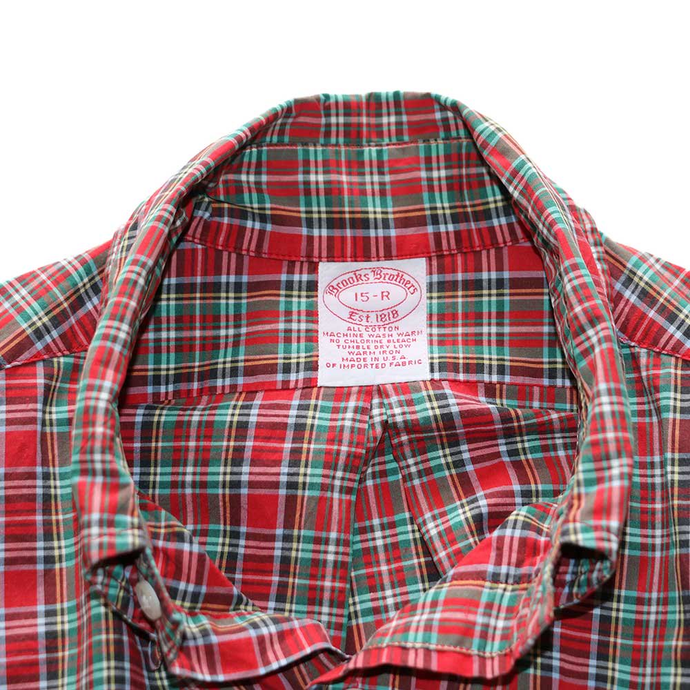 w-means(ダブルミーンズ) BrooksBrothers コットン長袖シャツ(Made in U.S.A.)表記15R  赤チェック柄 詳細画像2