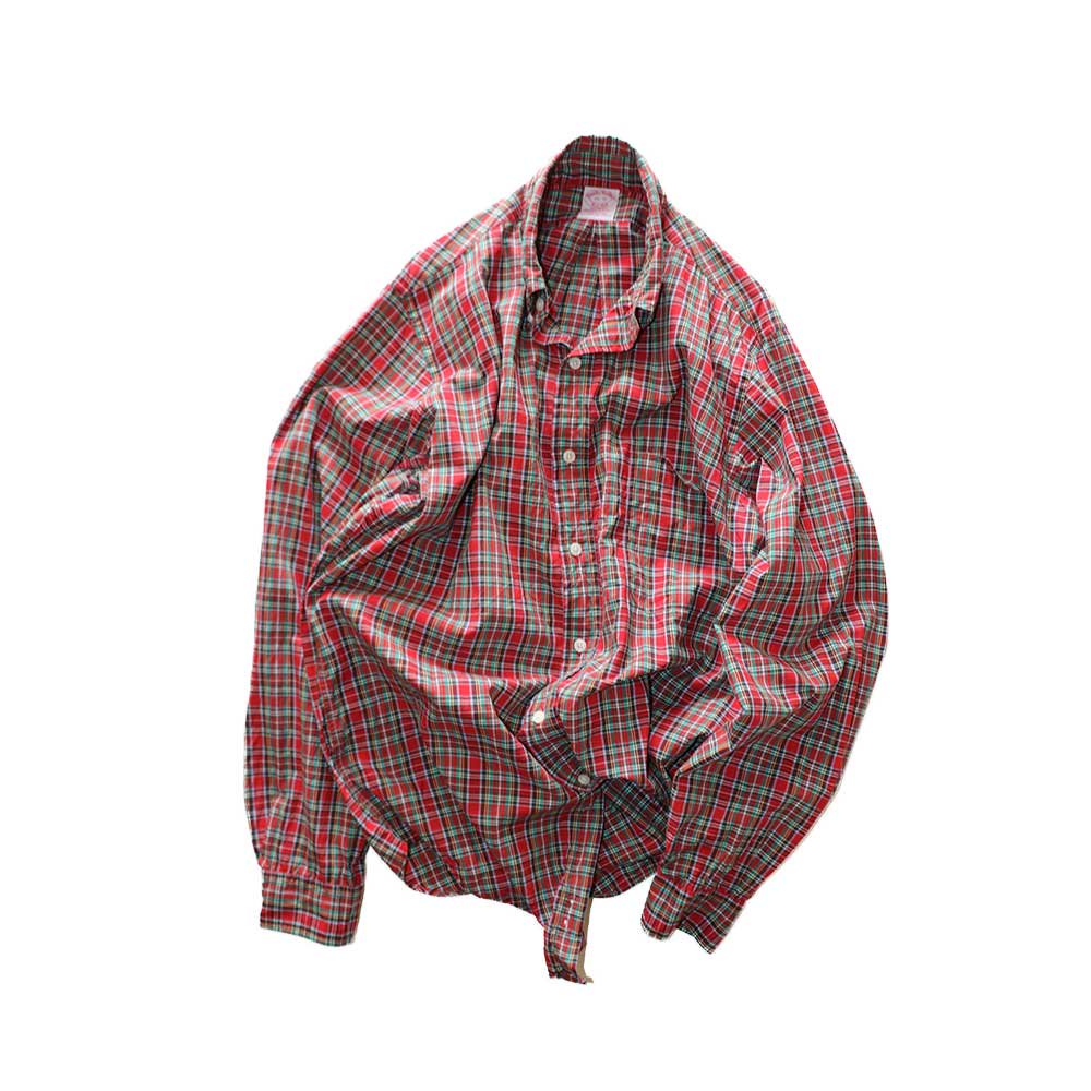 w-means(ダブルミーンズ) BrooksBrothers コットン長袖シャツ(Made in U.S.A.)表記15R  赤チェック柄 詳細画像4