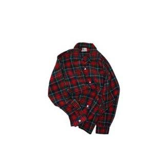 Polacheck's コットンオープンカラーシャツ 表記M  赤チェック