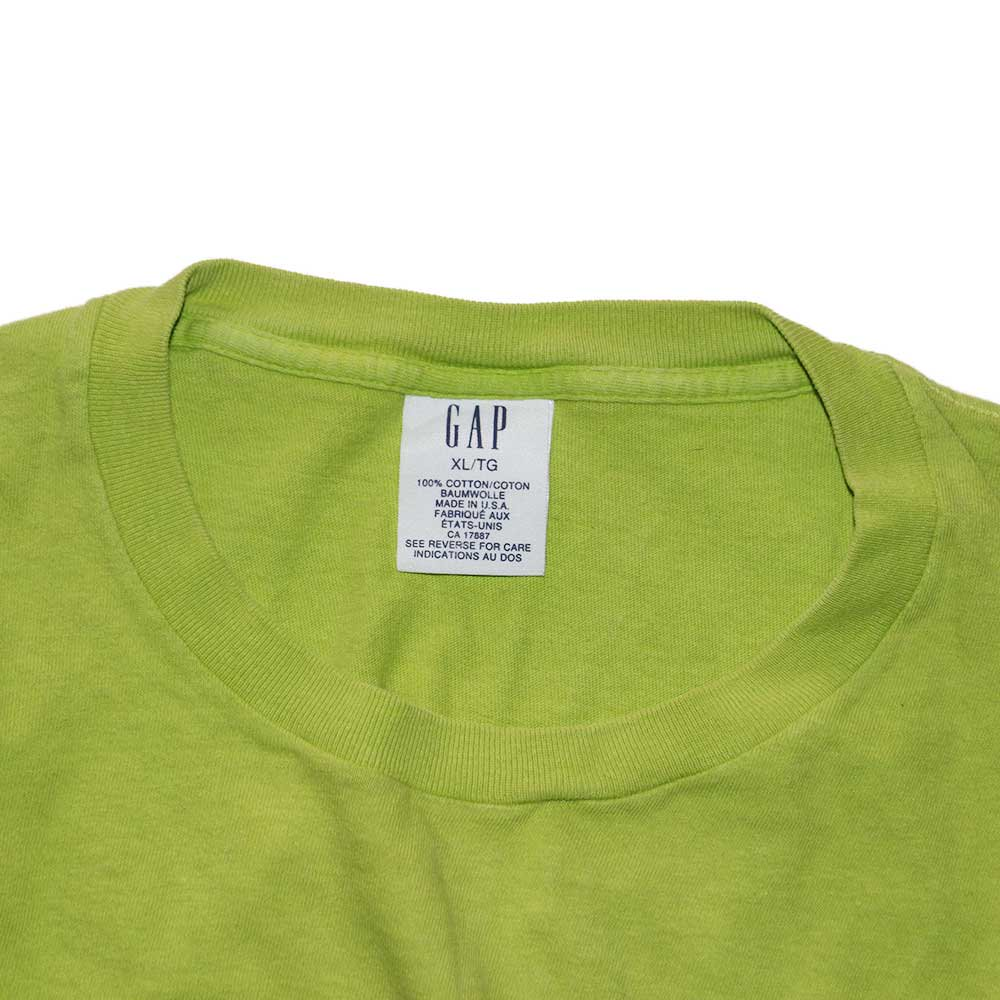 w-means(ダブルミーンズ) 90's G A P  コットンポケットTシャツ(Made in U.S.A.)xL  表記ライムグリーン 詳細画像1