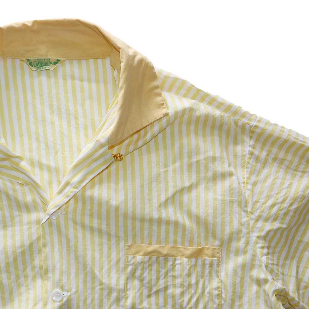 w-means(ダブルミーンズ) 60's コットンオープンカラー半袖シャツ(Made in California)表記xL  Yellow 詳細画像3