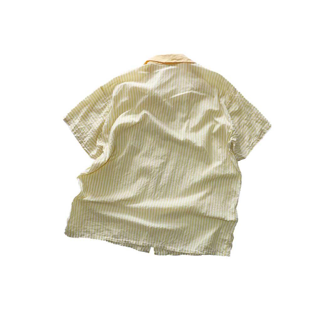 w-means(ダブルミーンズ) 60's コットンオープンカラー半袖シャツ(Made in California)表記xL  Yellow 詳細画像4