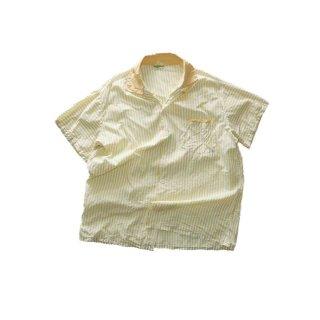 60's コットンオープンカラー半袖シャツ(Made in California)表記xL  Yellow