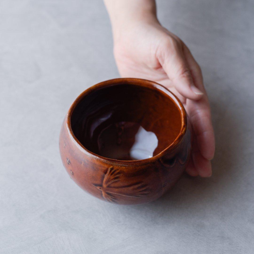 te-no-hira ツジタカコ 鳥と花 ボウル 茶