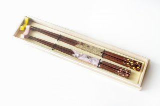 八角鉄木 枝垂丸花夫婦箸 手造り箸置きセット