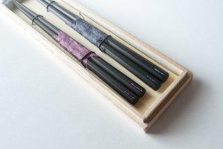 八角螺鈿 夫婦箸 錫箸置きセット