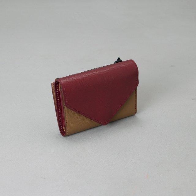 GF&CO. 三つ折り財布 RED×BROWN