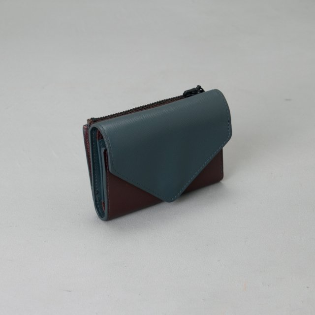 GF&CO. 三つ折り財布 NAVY×BURGUNDY