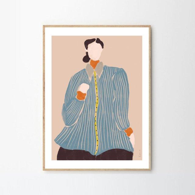 KVINDE I BLÅ by Laura Nielsen (50×70cm)