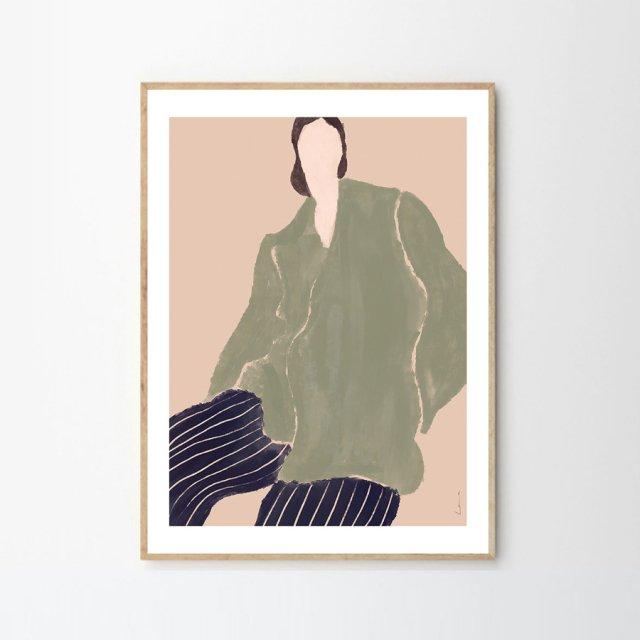 KVINDE I GRØN by Laura Nielsen (50×70cm)