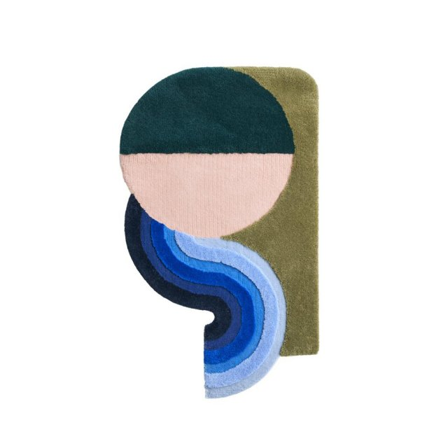 <img class='new_mark_img1' src='https://img.shop-pro.jp/img/new/icons52.gif' style='border:none;display:inline;margin:0px;padding:0px;width:auto;' />STUDIO THE BLUE BOY MINI WAVY GRADIENT RUG DEEP GREEN×DUSTY PINK