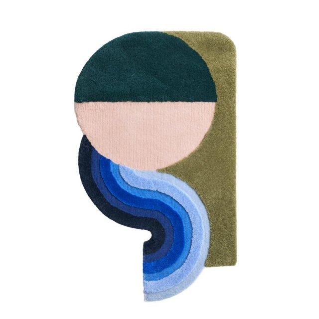 STUDIO THE BLUE BOY WAVY GRADIENT DOORMAT DEEP GREEN×DUSTY PINK