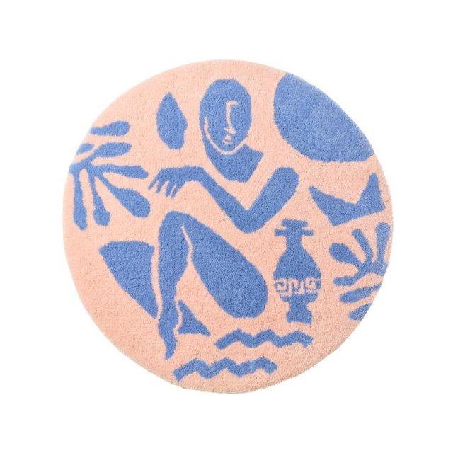 STUDIO THE BLUE BOY ORIGINAL GREEK MOTIFS DOORMAT PURPLE×BABY PINK