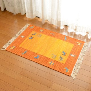 インド ウールダリー オレンジ系 約60×90cm