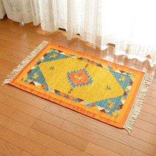 インド ウールダリー イエロー系 約60×90cm
