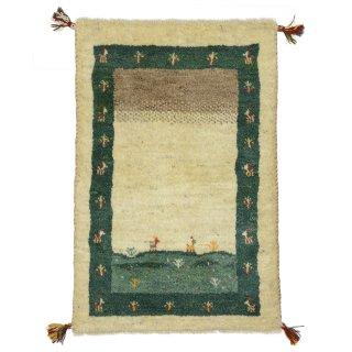 ペルシャンギャッベ 玄関マット60×90サイズ ベージュ系 約59×89cm