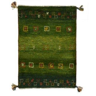 ペルシャンギャッベ 玄関マット60×90サイズ グリーン系 約61×86cm