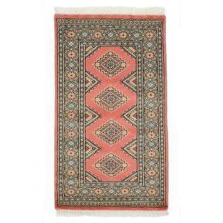 パキスタン 手織 ウール 絨毯 9×16 ピンク系 玄関マットサイズ 約71×123cm